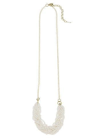 Bead Braid Necklace White Kette von People Tree
